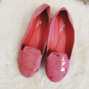 Barbie pink sequins, tweed, slipper, spring, pink